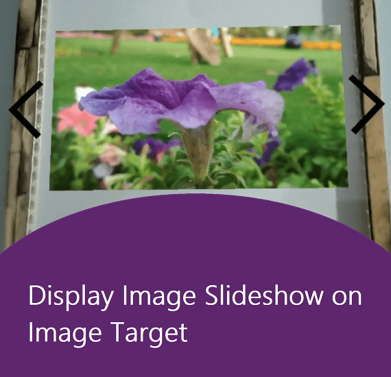 Display image slideshow on an image target using vuforia